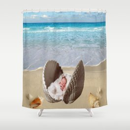 Baby on the Half shell Shower Curtain