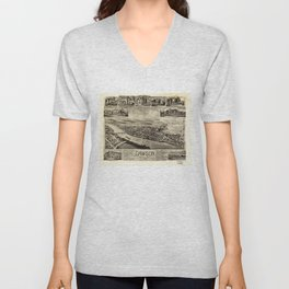 Aerial View of Dawson, Pennsylvania by T.M. Fowler (1902) Unisex V-Neck