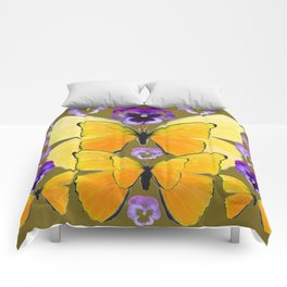 SPRING PURPLE PANSY FLOWERS & YELLOW BUTTERFLIES GARDEN Comforters