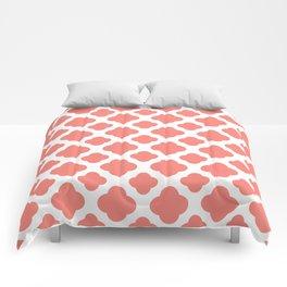 Coral Pink Quatrefoil Pattern Comforters