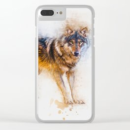 Timber Wolf Clear iPhone Case