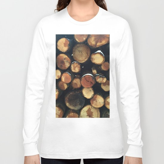 Pile of felled tree trunks Long Sleeve T-shirt
