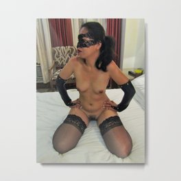 Asian Model Cat Cosplay in Leather Long Gloves Metal Print