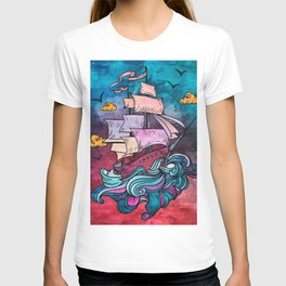 Fantasy Pastel Ship T-shirt
