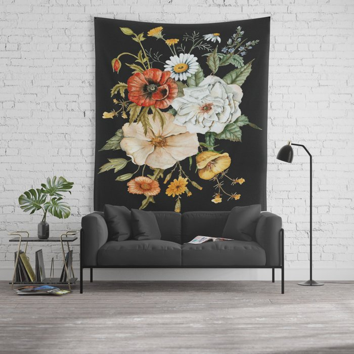 Wildflower Bouquet on Charcoal Wall Tapestry
