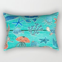 Blue & Orange Under the Sea Rectangular Pillow