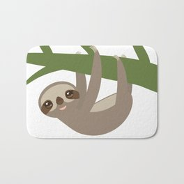 Three-toed sloth on green branch Bath Mat