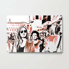 venice mirror alley street photography print city and people downtown Metal Print