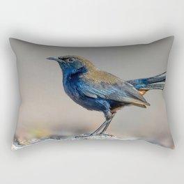 Beautiful Stunning Blueish Cute Little Bird Close Up Ultra HD Rectangular Pillow