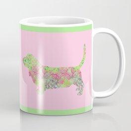 Bassett Hound Vintage Floral Pattern Pink Green Mint Shabby Chic Coffee Mug