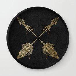 Gold Arrows on Black Wall Clock