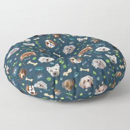 puppy party repeating pattern Floor Pillow