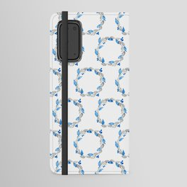 Blue and Gray Watercolor Leaf Wreath Android Wallet Case