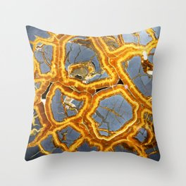 Bold Geometric Septarian Nodule Slice In Blue and Golden Yellow Throw Pillow