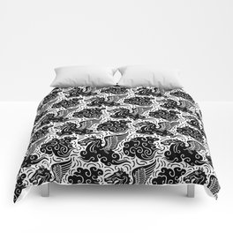 Pegasus Pattern Black and White Comforters