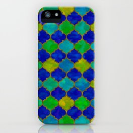 Ocean Breeze -Watercolor Moroccan Lattice iPhone Case