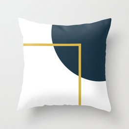 Fusion Minimalist Geometric Abstract in Mustard Yellow, Navy Blue, and White Throw Pillow