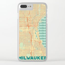 Milwaukee Map Retro Clear iPhone Case
