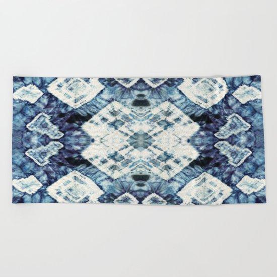 Blue Silk Tie-Dye Beach Towel