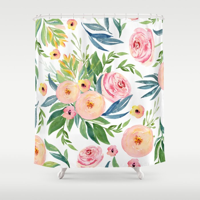 Elegant Roses Coral Pink Green Shower Curtain
