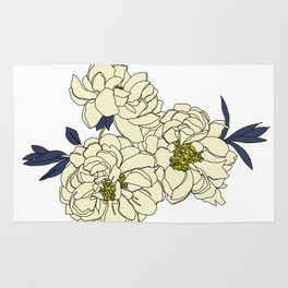 Botanical floral illustration line drawing - Peony Rug
