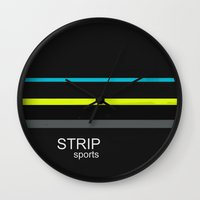 sports Wall Clocks featuring STRIP sports by Robert Morris