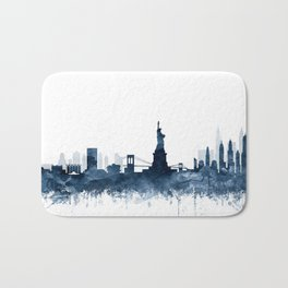 New York City Skyline  Blue Watercolor by zouzounioart Bath Mat
