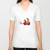 sriracha V-neck T-shirts featuring Sriracha Cha Cha - Pink by Gina Perry