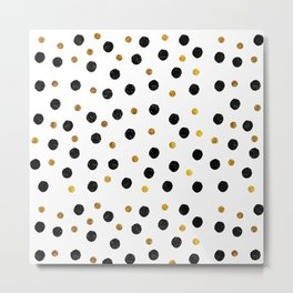 Black & Gold Glitter Confetti on white background- Elegant pattern Metal Print