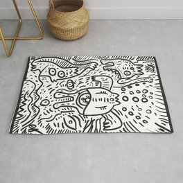 Cyclope Graffiti Street Art Black and White Rug
