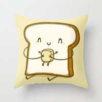bread Throw Pillows featuring Bread & Butter by Robo Rat