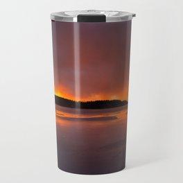 Sunset With Orange Sky Reflections On The Icy Lake #decor #society6 #homedecor #buyart Travel Mug