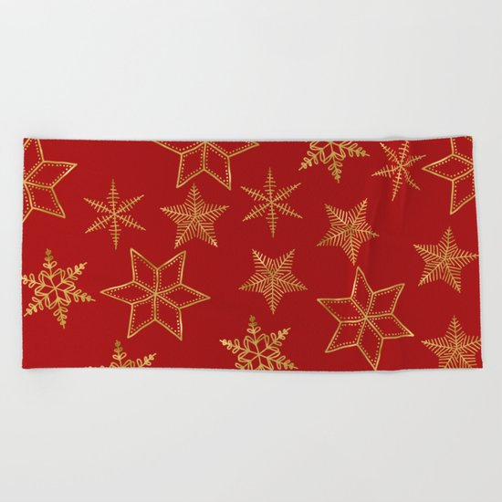 Snowflakes Red And Gold Beach Towel