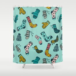 Socks and Mittens Pattern Shower Curtain