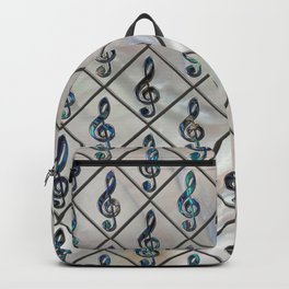 Treble Clef Abalone Shell pattern on mother of pearl Backpack