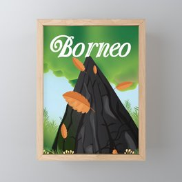 Borneo Rainforest travel poster Framed Mini Art Print