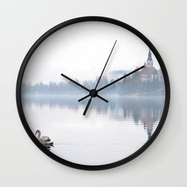 The Mists of Lake Bled Wall Clock