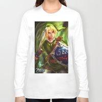 the legend of zelda Long Sleeve T-shirts featuring Link - Legend of Zelda by Sanjin Halimic