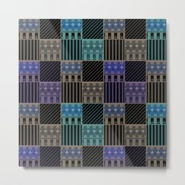 Patchwork black blue green tones Metal Print