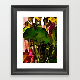 Green Leaf and Yellow Flowers with a Pink Wall Framed Art Print