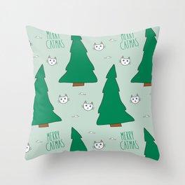 Merry Catmas Cat Christmas Tree Throw Pillow