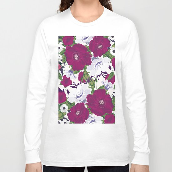 Purple Spring Flowers Long Sleeve T-shirt