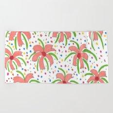 Tropical Fiesta Flowers Beach Towel