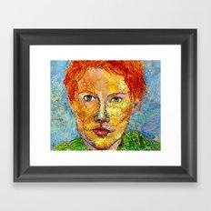 Map Scrap Self Portrait Framed Art Print