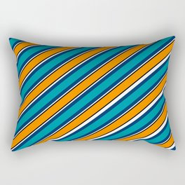 TEAM COLORS 1…Teal navy white and orange stripe Rectangular Pillow