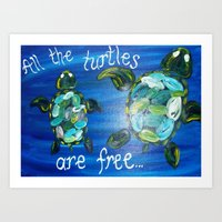 turtles Art Prints featuring Turtles by Lark Nouveau Studio