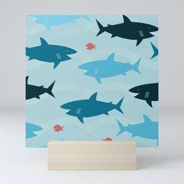 Happy Sharks Mini Art Print