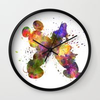 donald duck Wall Clocks featuring Mickey Mouse and Donald Duck in watercolor by Paulrommer