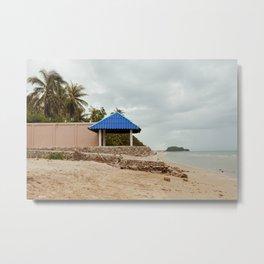 Blue Gazebo on the Beach in Sam Roi Yot, Thailand Metal Print