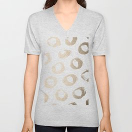 Luxe Gold City Dot Circles Unisex V-Neck